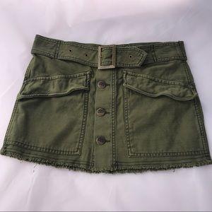Free People Womens Size 2 Olive Green Mini Skirt